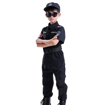 New Boy Cosplay for Policemen Kids Army Police Uniform Performance Policemen Costumes Coat+Pant+Belt+Cap Special Police Clothing