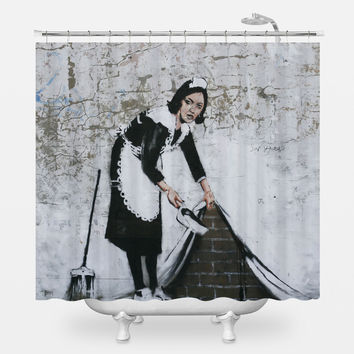Sweep it Under Shower Curtain
