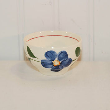 Vintage Southern Potteries? Small Floral Uncovered Sugar Bowl (c.1940's-1950's) Blue Ridge, Southern Pottery, Hand Painted Flowers, Red Blue