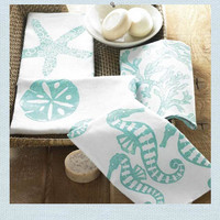 Seaside Inspired | Beach Decor | sealife guest towels from SeasideInspired.com.
