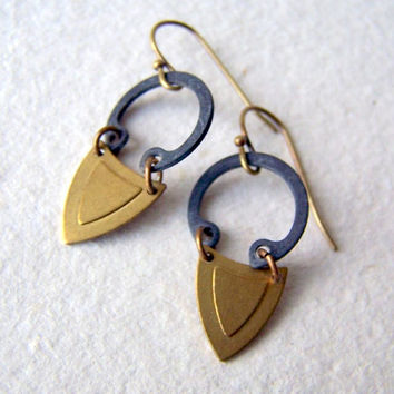 Geometric Earrings - brass earrings - vintage brass -  industrial - Rustic Jewelry - boho fashion