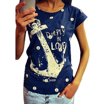 Summer Style 2018 New Womens Shirts Anchor Letter Print Loose-Fitting Tops Female T-shirts Plus Size 2 Colors