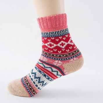 32cm High Quality Womens Cashmere Wool Thick Warm Socks Winter Fashion Striped Socks #LSN