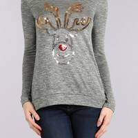 """Rudolph the Sparkly Nose"" Long Sleeve Top"