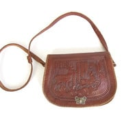Vintage Tooled Leather Purse -- Mayan Tooled Leather Bag -- Crossbody Shoulder Bag -- Brown Leather Peru Purse with Deer & Butterfly Clasp