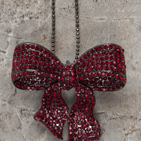 ruby red bow necklace-brooch-bouquet pin