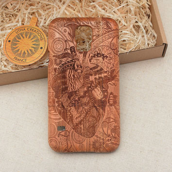 Psychedelic Custom Design ''The Flow'' Wood Phone Case HTC One M8, LG G2 and G3, Sony Xperia Z2, Z3, Z3 Compact