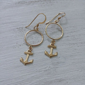 Anchor Earrings by SBC 14K Gold Filled Ear Wires, 14K Gold Filled Anchors, Nautical Earrings, Anchor Jewelry, Gold Anchor, Sailor Earrings