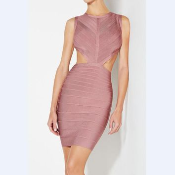 Amigo 2017 Latst Pink Sleeveless Backless Cut Out Sexy Bandage Dress Midi Evening Dresses For Girls Party Wear