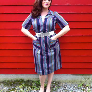 Vintage MultiColored Striped Shirt Dress // by HawkShopVintage