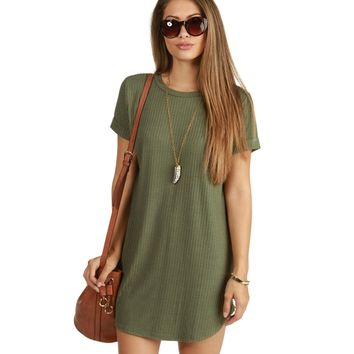 Olive Laid Back Ribbed Tunic
