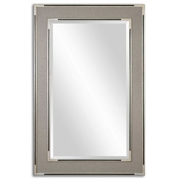 Alfred Oversized Gray-Tan Mirror By Uttermost