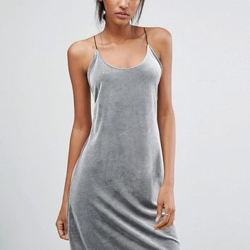 Vero Moda Tall Velvet Rib Cami Dress at asos.com