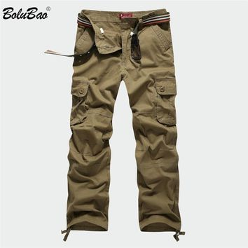 BOLUBAO 2018 New Cargo Pants Men Multi Pockets Pants Military Camouflage Track Pants Trousers Mens Elastic Waist Pant Men