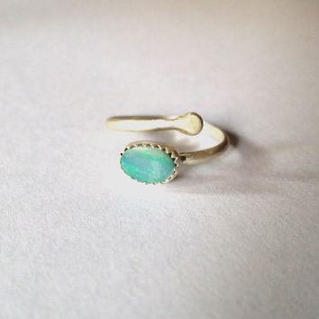 Trending Midi or Middy ring silver and opal adjustable size 2-5