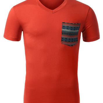 Mens V-Neck T Shirt with Tribal Print Pocket