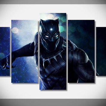 Black Panther 2018 Marvel Movie 5 Panel Canvas Wall Art Print Poster Picture
