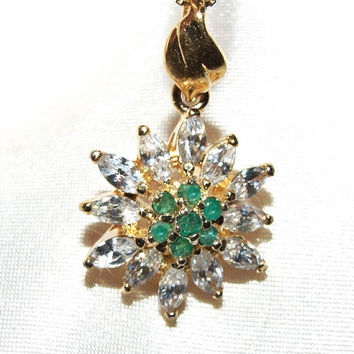 "Vintage Genuine Round Cut Genuine Emeralds and Marquise CZ Diamonds Flower Pendant and 18"" Chain Necklace, 18k Yellow Gold Vermeil"
