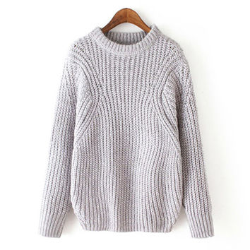 Gray Loose Knitted Sweater