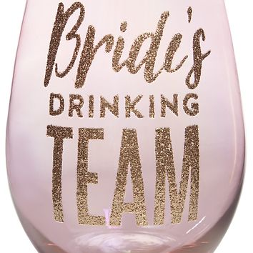 Bride's Drinking Team Jumbo Stemless Glitter Wine Glass