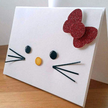 Hello Kitty Sanrio Lego Handmade Greeting Card. Hello Kitty Red Glitter Bow Birthday Card. Hello Kitty Birthday Party.Stampin Up Hello Kitty