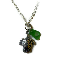 Green Sea Glass with Heart and Turtle Charm Necklace