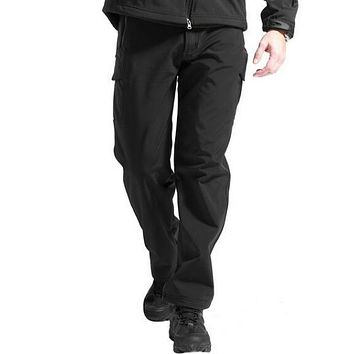 Shark Skin Softshell Tactical Military Camouflage Pants Men Winter Army Waterproof Thermal Camo hunt Fleece  trousers