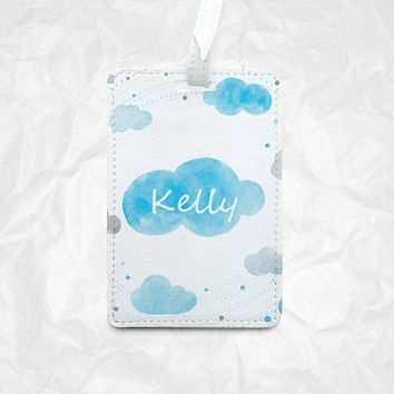 Blue Cloud luggage tag Bag tag plus Your personal Name