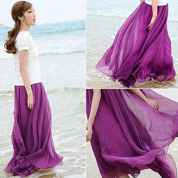 Purple Chiffon skirt Maxi Skirt Long Skirt Maxi Dress Silk chiffon dress Women Silk Skirt Beach Skirt plus size dress Pleat skirt