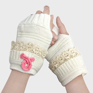 Pink Ribbon Lace Knit Fingerless Gloves
