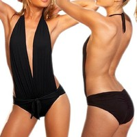 Bloom's Outlet Womens Sexy Black Halter Neck Monokini Bikini Swimsuit