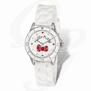 Hello Kitty Silver Color W/Red Bow White Silicone Strap Watch
