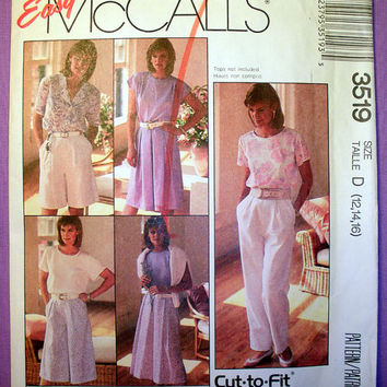 Women's Skirt, Culotte and Pants Misses' Size 12,14,16 McCall's 3519 Sewing Pattern Uncut