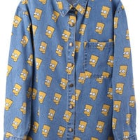 "ROMWE | ""Cartoon Portrait Head"" Light Blue Shirt, The Latest Street Fashion"