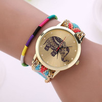 Fashion Women Ethnic Handmade Braided Elephant Pattern Bracelet Dial Quarzt Watches
