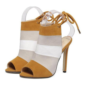 High Thin Heel Chromatic Color Rainbow Peep-toe Sandals  brown  35
