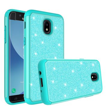 Samsung Galaxy J3 (2018), Express Prime 3 Case, SM-J337A Glitter Bling Heavy Duty Shock Proof Hybrid Case with [HD Screen Protector] Dual Layer Protective Phone Case Cover for Samsung Galaxy J3 (2018) - Teal