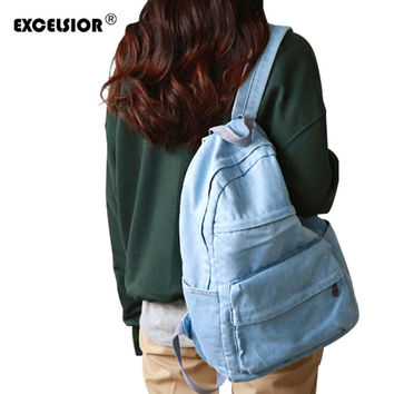 EXCELSIOR backpack schoolbag women school backpack bags denim jeans backpack teenage backpacks for girlsBolsas Mochilas Feminina