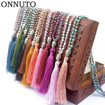 2018 Arrival Long Tassel Neon Necklace Ancient Silver Alloy Buddha Head Pendant Faceted Glass Crystal Knot Women Jewelry