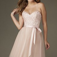Knee Length A-Line Tulle Embroidered Dress by Mori Lee