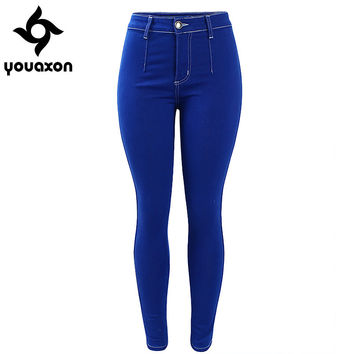 1893 Youaxon Women`s Plus Size Fashion Brand High Waist Ultra Stretch Super Skinny Cotton Denim Jean For Woman Jeans