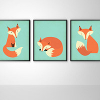 Foxes Set of Three Fox Art Print Posters - Fox Nursery Art - Kids Room Fox Print - Fox Art - Fox Print - Aqua Blue and Orange Wall Decor