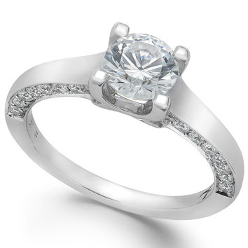 X3 Certified Diamond Solitaire Engagement Ring in 18k White Gold (1-1/2 ct. t.w.)
