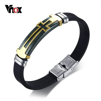Vnox Stainless Steel Cross Bracelet Bangle for Men Black Silicone Wristband Masculine Cool Casual Jewelry