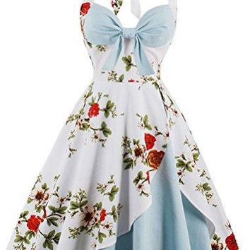 Halter Sleeveless 1950s Retro Vintage Style Hollywood Flower Cocktail Swing Dress