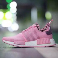 Best Online Sale Adidas Originals NMD R1 Crystal Pink Boost Sport Running Shoes Classic Casual Shoes Sneakers