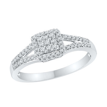 1/4 CT. TW. Square Diamond Engagement Ring in Sterling Silver or White Gold