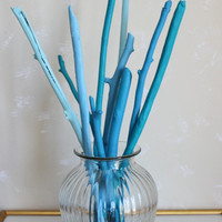 Ocean Blues Painted Driftwood Branches Perfect for the Beach House , Beach Wedding & Coastal Chic Home Decor