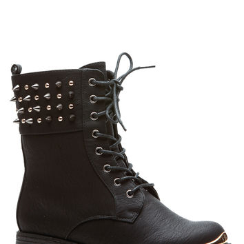 Black Spiked in Style Faux Leather Lace Up Boots