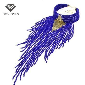 Indian Jewelry Handmade Chunky Choker Necklace Long Beaded Tassel Necklaces 2016 New Statement Collar Women Accessories CE3987